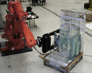 image of QComp Robotic Glass Slotted Racking for End of LIne